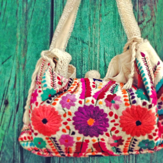 Handbag mexican floral emboidered by aidacoronado on etsy
