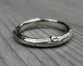 Branch Wedding Band: White Gold; Size 9.5; Ready to Ship