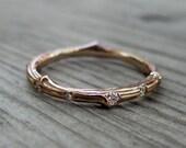 Diamond Eternity Twig Wedding Band: 11 Diamonds; White, Yellow, or Rose Gold; Canadian Diamonds