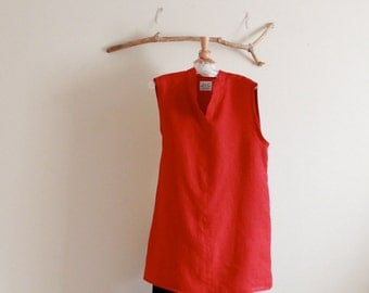 "bust 44"" room crimson linen slim chipao collar tunic ready to ship"