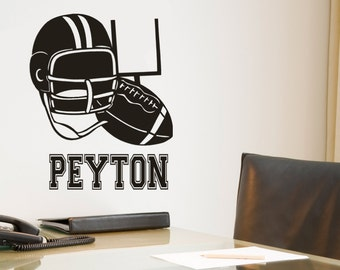 Football Wall Decal , Helmet vinyl decal, Kids Name Monogram, Personalized Wall Decal , Boy Wall Decal, Football decor, Last name Wall Decal