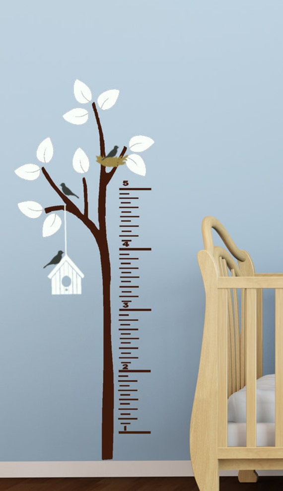 Childrens Growth Chart Vinyl Decals For Kids Tree And Birds - Ruler growth chart vinyl decal