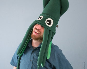 Large Plush Squid Hat - Dark Green