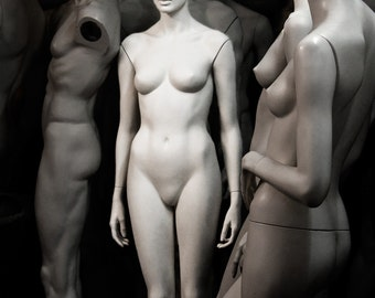 Black and White Mannequins Art Print / Nude Mannequins Photo / Fashion Photography DETACHED