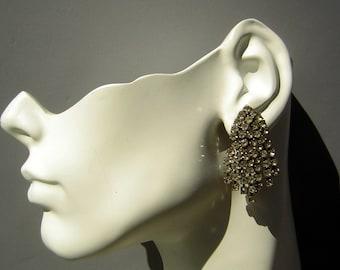 Big Rhinestone Earrings Deco Gatsby Statement Vintage 60s do 20s Clip-On Posh