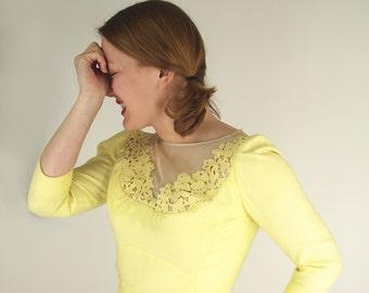 SALE 60s Lilli Diamond Yellow Sheath Dress with Illusion, Lace & Rhinestone Neckline S/M