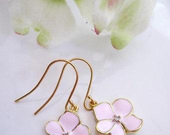 Flower Earrings, Light Pink, Tiny Flower Drops, Flower Charm, Bridesmaid Earrings,Flower Girl Jewelry, Gardendiva
