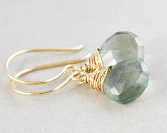 Moss Aquamarine Dangle Earrings, March Birthstone, Mint Earrings