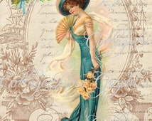 Victorian Romance teal Lady Large digital download ECS buy 3 get one free Pink ROSES romantic cottage single image