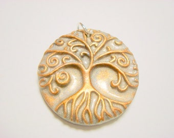 Silver and Copper Yggdrasil Tree of Life With Roots Handmade Polymer Clay Pendant or Focal Bead