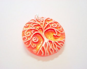 Red, Silver, and Interference Gold Yggdrasil Tree of Life Handmade Polymer Clay Pendant or Focal Bead