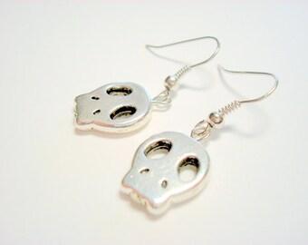 Simple Silver Sugar Skull Earrings