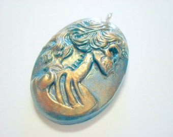 Turquoise, Gold and Bronze Lolita Day of the Dead Handmade Pendant