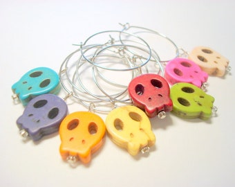 Sugar Skull Day of the Dead Rainbow Wine Charms