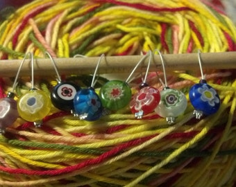 Spanish Flowers -- Stitch Markers -- 8 pc