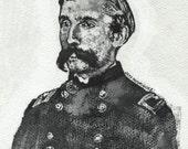 Ink portrait painting of Civil War Union General Joshua Chamberlain