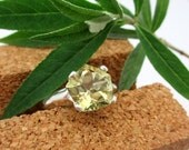 Lemon Quartz Pentagon Cut Gemstone Ring in Sterling Silver, Size 7.25