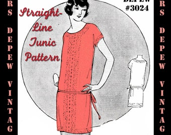 Vintage Sewing Pattern Instructions 1920's Tunic Blouse or Dress Ebook Depew 3024 -INSTANT DOWNLOAD-