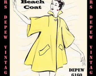 Vintage Sewing Pattern 1950's Beach Coat in Any Size - PLUS Size Included - Depew 6160 -INSTANT DOWNLOAD-