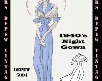 Vintage Sewing Pattern 1940's Night Gown in Any Size - PLUS Size Included - Depew 5004 -INSTANT DOWNLOAD-