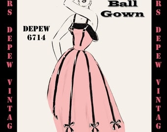 Vintage Sewing Pattern 1950's Evening Ball Gown in Any Size - PLUS Size Included - Depew 6714 -INSTANT DOWNLOAD-