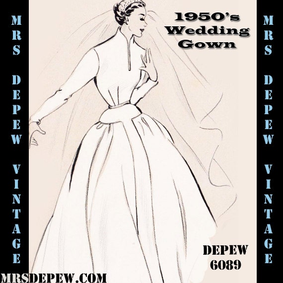 Vintage Sewing Pattern 1950's Wedding Gown in Any Size - PLUS Size Included - Depew 6089 -INSTANT DOWNLOAD-