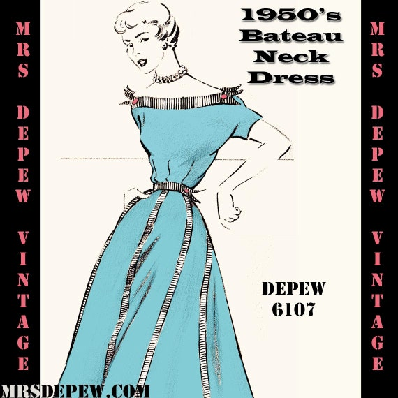 Vintage Sewing Pattern 1950's Bateau Neck Dress in Any Size - PLUS Size Included - Depew 6107 -INSTANT DOWNLOAD-
