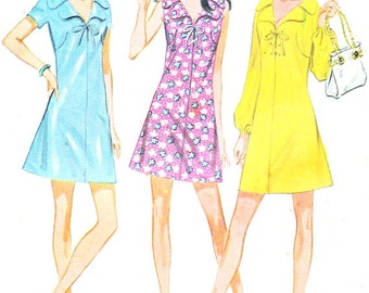 1970s Dress Pattern McCalls 2399 A Line Collared Dress Lace or Bow Trim Bodice Womens Vintage Sewing Pattern Bust 31 Uncut