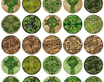 "CELTIC CIRCLES - Digital Printable Collage Sheet - Vintage Irish Celtic Crosses, Knots & Dragons, 1"" Circles, 25 mm, Instant Download"