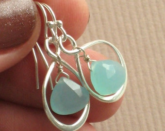Chalcedony Earrings & Infinity Loop in Sterling Silver, Aqua Chalcedony drops, Bridesmaid gift, Infinity Earrings, Beach Wedding