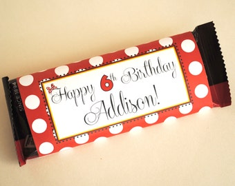 DIGITAL Large Hershey Label Inspired by Minnie Mouse - Classic Red, Black and White with Polka Dots and Minnie's Bow