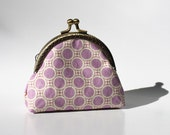 Kiss lock coin purse - geometric retro fabric . lilac and dark brown - soft pastel colors
