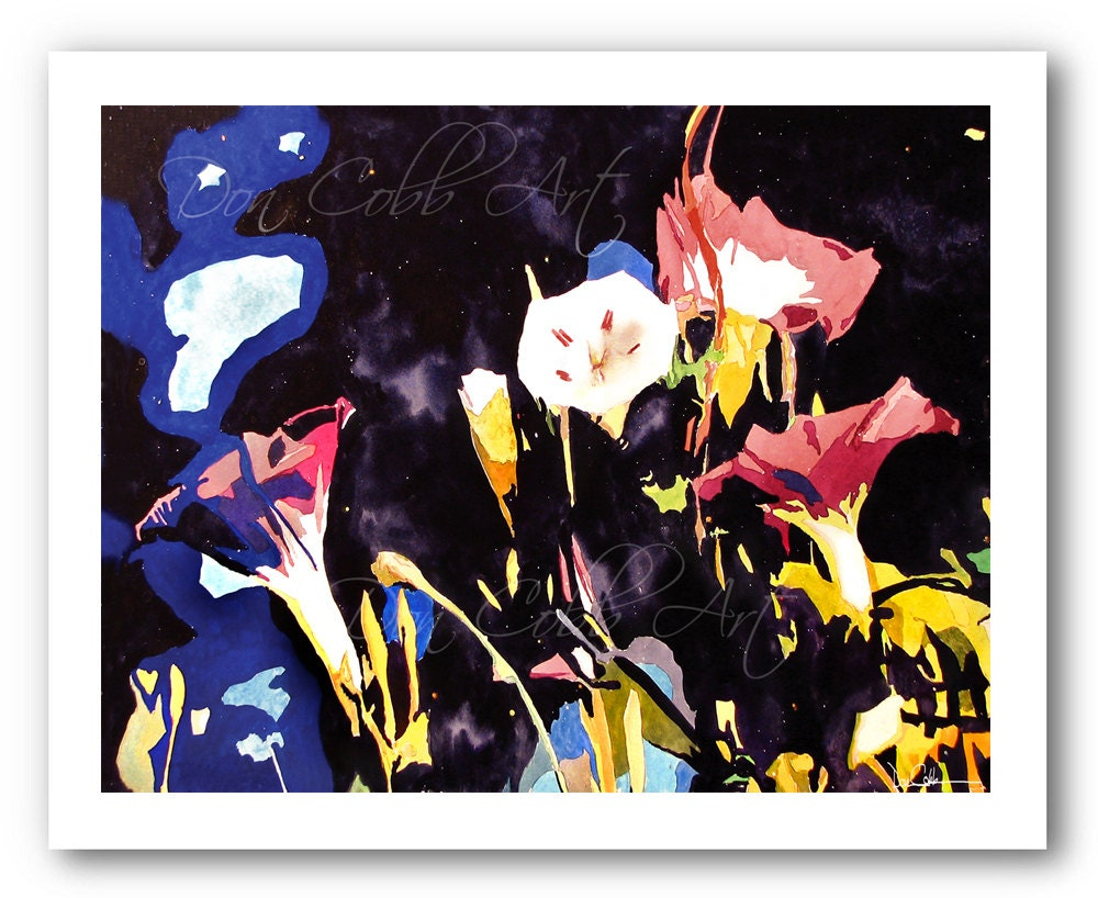 Morning Glory Flowers Art Print Signed And Numbered