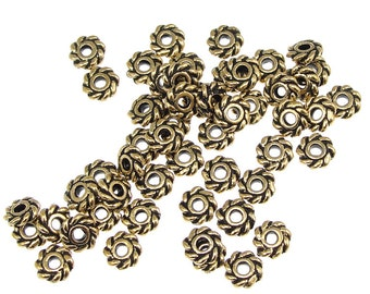50 Gold Beads - 4mm Twist Antique Gold Bali Beads - Twisted Coiled Heishi Gold Spacer Beads - TierraCast Pewter Metal Beads (PS46)