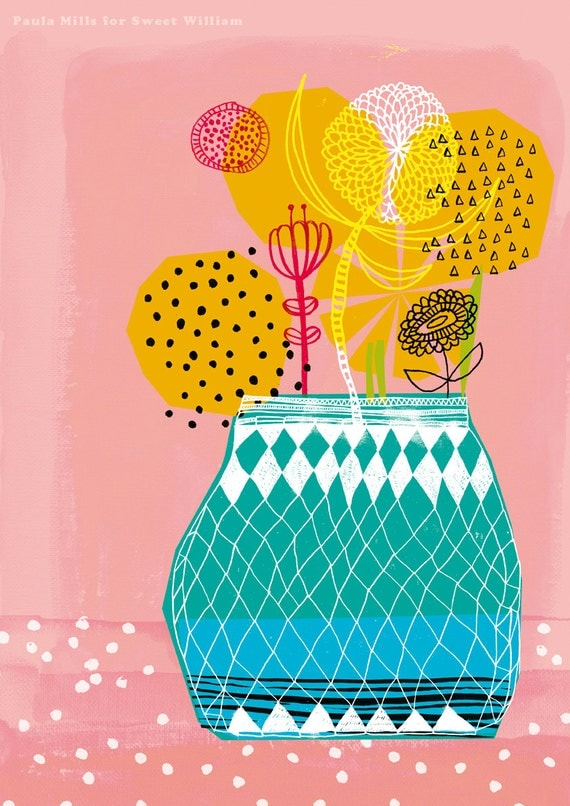SALE Geometric Vase Archival Wall Art Print by Paula Mills for Sweet William - small and medium size