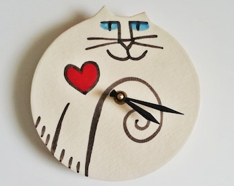 Cat clock:  hand made red heart Sweet Heart white black whimsical Pottery wall hanging feline pet resort designer