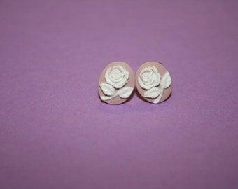 Tiny Mauve Rose Cameo Earrings
