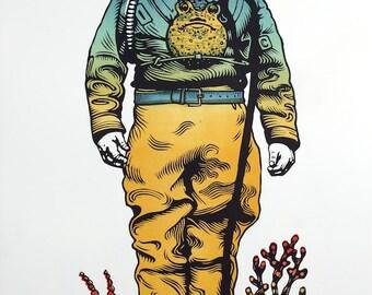 Deep Sea Diver linocut original relief print