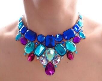 Blue and Purple Rhinestone Bib Necklace, Blue Statement Necklace, Jeweled Bib Necklace, Bridesmaid Statement Necklace