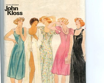 1970s Butterick 4509 Sewing Pattern Sexy, Close-Fitting Gown and Panties Length, Sleeve Variation by Designer John Kloss UNCUT Sz 10 Bust 33