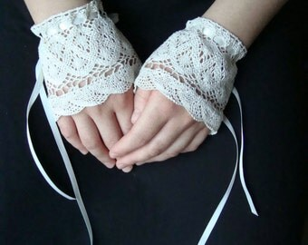 Natural Crocheted Cuffs Fingerless Lace Gloves Steam Punk Neo Victorian Gauntlets Pretty Lace Gloves