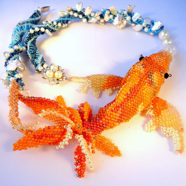 Reserved layaway kanagawa koi ii sculptural by for Koi fish beads