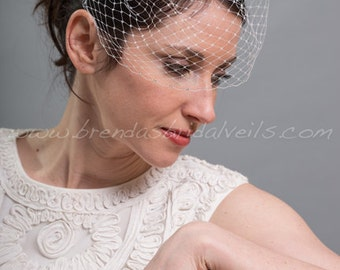 Birdcage Veil, Bridal Veil, Rhinestone Edged Veil, Crystal Rhinestone Flower, Wedding Veil