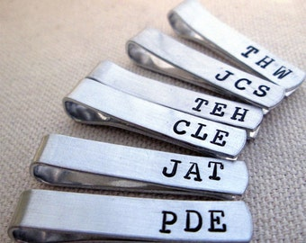 Groomsmen Set of 9 -Personalized Men's Skinny Tie Bar - Monogramed Tie Clip - Aluminum Tie Bar -