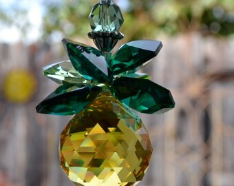 "7' to 12"" Long 20mm 168 Facets Hospitality Gold Pineapple Swarovski Crystal Cluster, More Facets, Magical Dancing Rainbows for Car or Home"