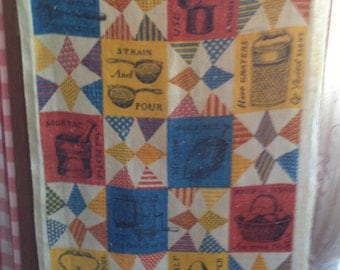 Vintage Bicentennial Dishcloth with Kitchen Utensils and Advice
