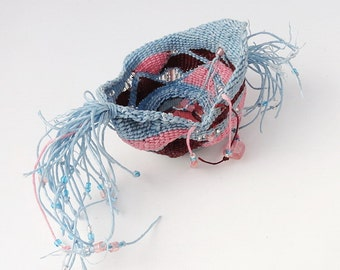Miniature Basket, Ring Holder, Waxed Linen, Sculptural Basket, Pink Blue Burgundy
