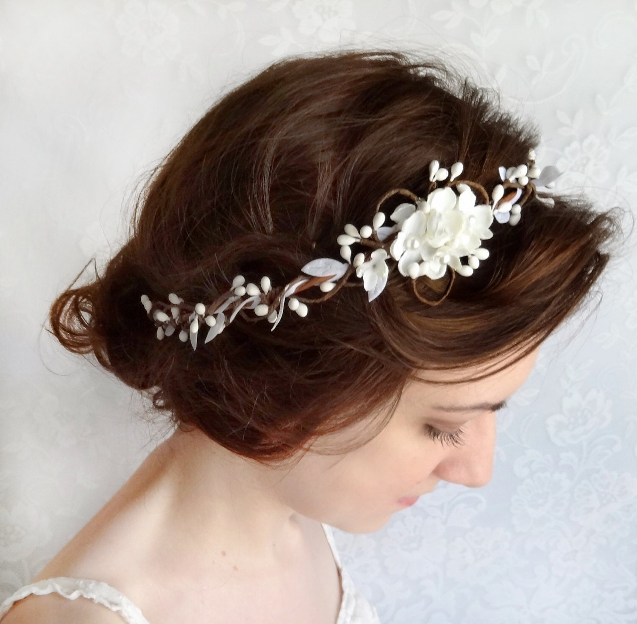 Flower Wedding Headpieces: Bridal Hair Piece Wedding Headpiece White Floral Headband