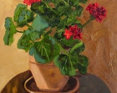 Red Geranium in Shadow Oil Painting