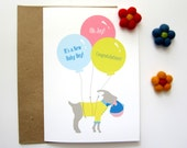 Goat New Baby Announcement, New Baby Congratulations, Birth Congratulation Card, New Born Baby Boy, Baby Boy Birth